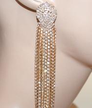 ORECCHINI donna ORO strass pendenti fili lunghi cristalli eleganti cerimonia G3