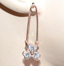 ORECCHINI donna pendenti oro rosa cristalli strass cuori ragazza earrings G15