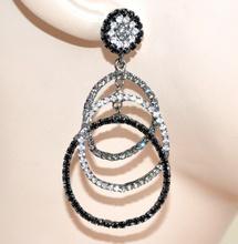 ORECCHINI GRIGIO NERI donna cerchi pendenti cristalli  strass  cerimonia boucles E110
