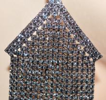 ORECCHINI GRIGIO NERI donna STRASS multi fili pendenti lunghi cristalli cerimonia S82