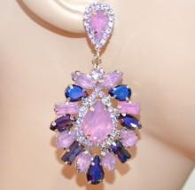 ORECCHINI  LILLA GLICINE BLU VIOLA argento donna cristalli pendenti strass cerimonia earrings BB70