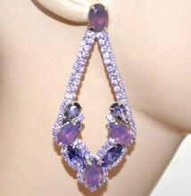 ORECCHINI lilla glicine viola strass cristalli donna argento pendenti party BB56