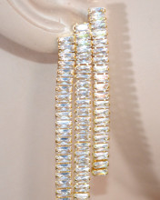 ORECCHINI ORO BEIGE donna cristalli fili pendenti lunghi strass earrings ohrringe D10