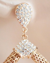 ORECCHINI oro donna cerchi ovali pendenti cristalli strass eleganti earrings H14
