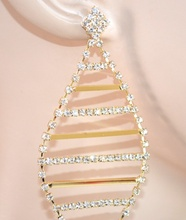 ORECCHINI ORO donna eleganti STRASS cristalli pendenti da cerimonia E60