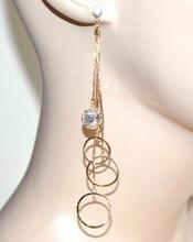 ORECCHINI ORO donna fili pendenti dorati cerchi strass cristalli bigiotteria A6