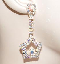 ORECCHINI oro dorati donna stelle pendenti strass cristalli boucles regalo F245