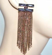 ORECCHINI oro viola glicine donna fili lunghi strass pendenti cristalli серьги BB25