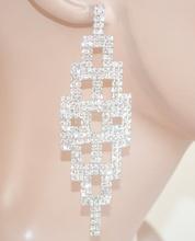 ORECCHINI pendenti lunghi ARGENTO donna CRISTALLI strass brillanti eleganti SPOSA cerimonia party 10N