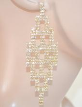ORECCHINI pendenti lunghi donna CRISTALLI strass brillanti eleganti SPOSA cerimonia party 10N
