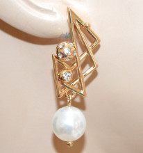 ORECCHINI PERLA bianca donna Oro dorati pendenti strass cristalli eleganti N92