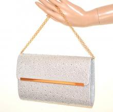 POCHETTE ARGENTO donna borsello strass brillantini borsa cristalli elegante G32