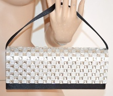 POCHETTE donna NERA strass CRISTALLI elegante borsello clutch raso da cerimonia 60X