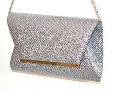 POCHETTE GRIGIO ARGENTO borsello brillantini donna borsa elegante clutch bag A8