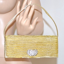 POCHETTE oro donna borsello borsa CERIMONIA elegante strass cristalli cuori brillantini da sera clutch 108