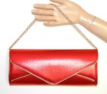 POCHETTE ROSSA ORO donna dorata borsello borsa elegante da sera bag sac bolsa A44