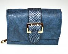 PORTAFOGLIO BLU donna fibbia oro borsello a mano portamonete eco pelle clutch G1