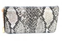 PORTAFOGLIO donna BORSELLO NERO pochette borsellino pelle rettile clutch 1265