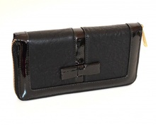 PORTAFOGLIO nero donna borsello portamonete clutch bag eco pelle vernice zip G15