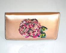 PORTAFOGLIO ORO ROSA donna borsello pochette eco pelle paillette clutch bag regalo G2