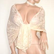 SCIALLE STOLA BEIGE PIZZO foulard 30% SETA ricamato donna coprispalle abito cerimonia G30