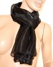 SCIARPA NERA donna maxi foulard pashmina metallizzata sciarpetta tinta unita scarf 15