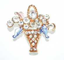 SPILLA donna ORO dorato bouquet fiori blu rosa strass cristalli fermaglio elegante CC8