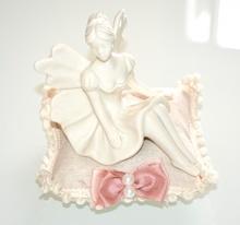 Statuetta angelo ceramica angioletto bianco soprammobile idea regalo natale F5