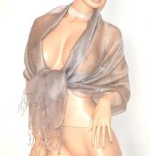 STOLA ARGENTO donna 50% SETA foulard maxi coprispalle velato scialle elegante cerimonia  E145