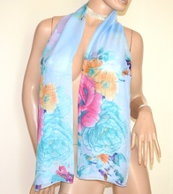 STOLA AZZURRA donna foulard coprispalle fantasia floreale velata fiori A56