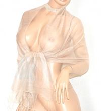 STOLA BEIGE SABBIA donna elegante 30% SETA velata foulard coprispalle scialle cerimonia abito da sera E90