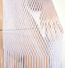 STOLA BIANCA ARGENTO PLATINO RETE donna filo foulard maxi scialle frange coprispalle lurex G62