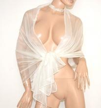 STOLA BIANCA AVORIO foulard donna maxi coprispalle sposa scialle velato cerimonia A8