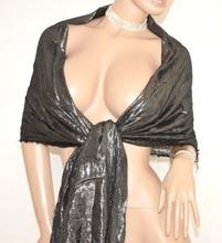 STOLA BLU ARGENTO elegante MAXI FOULARD scialle cerimonia coprispalle abito da sera festa party Z3