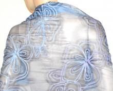 STOLA BLU foulard 30% SETA scialle ricamato coprispalle sciarpa elegante G45