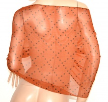 STOLA coprispalle donna BRONZO ARANCIO foulard seta velata elegante da cerimonia E98
