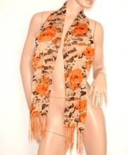 STOLA coprispalle donna ELEGANTE da Cerimonia foulard con FANTASIA FLOREALE oro arancio 600P