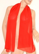Stola coprispalle foulard cerimonia donna rosso seta tinta unita sciarpa elegante abito da sera 105Q
