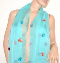 Stola coprispalle maxi donna x abito cerimonia foulard da sera seta velata azzurra sciarpa elegante 106E
