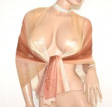 STOLA donna BEIGE BRONZO maxi foulard seta coprispalle elegante da cerimonia E45