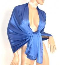 STOLA donna BLU coprispalle 30%SETA elegante MAXI foulard scialle da cerimonia E85
