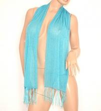 STOLA foulard coprispalle donna x cerimonia elegante AZZURRO brillantinato da sera shimmer trasparente 200N