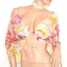 STOLA foulard donna ROSA BEIGE GIALLO coprispalle seta velata cerimonia elegante abito da sera H25