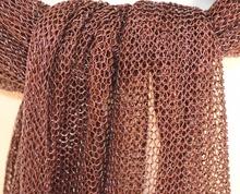 STOLA MAXI MARRONE BRONZO foulard donna scialle elegante a rete da cerimonia coprispalle da sera S1