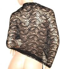 STOLA NERA coprispalle donna elegante foulard cerimonia pizzo ricamata abito da sera E60