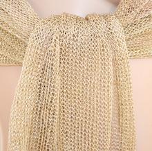 design senza tempo f0631 50453 STOLA ORO donna coprispalle elegante scialle a rete cerimonia maxi foulard  abito da sera S1