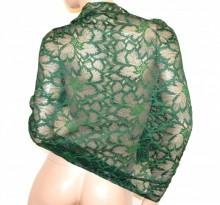 STOLA VERDE pizzo ricamato maxi donna seta coprispalle foulard scialle elegante G65