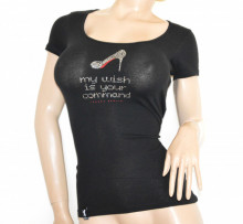 T-SHIRT NERA donna maglietta manica corta maglia sport sottogiacca cotone strass A65