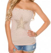 TOP BEIGE donna fascia canotta stella dorata borchie maglietta sottogiacca cotone sport AZ75