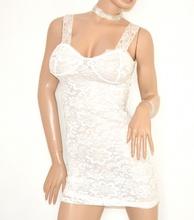 TOP BIANCO donna CANOTTA LUNGA mini abito vestito pizzo ricamato elegante cerimonia party E75
